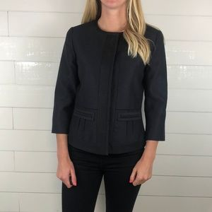 Tahari Career Navy Black Trim Career Blazer Jacket